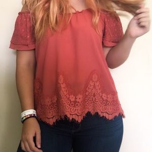 Off-the-Shoulder Coral Lacy Blouse